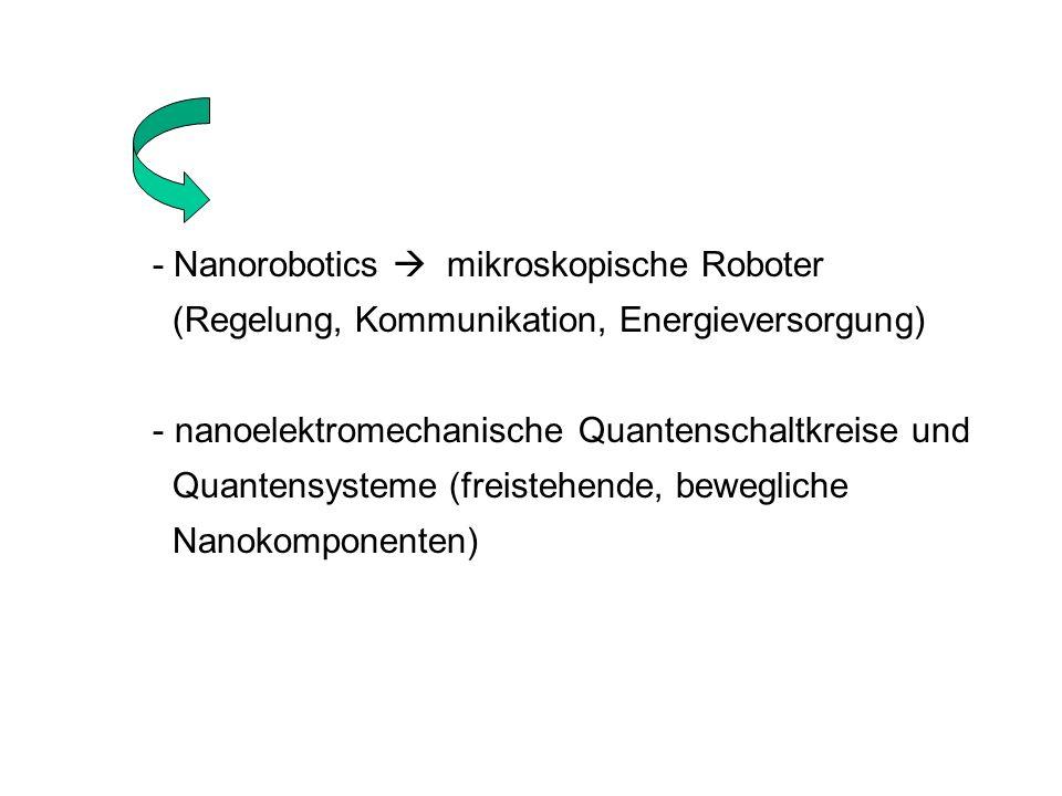 - Nanorobotics mikroskopische Roboter (Regelung, Kommunikation, Energieversorgung) - nanoelektromechanische Quantenschaltkreise und Quantensysteme (fr