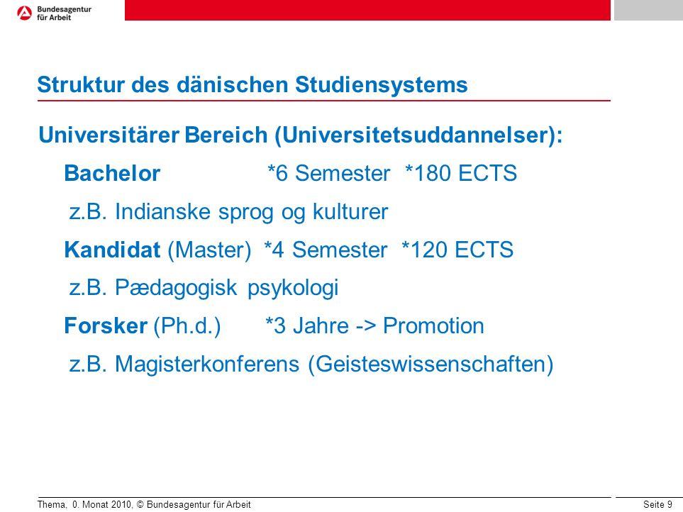 Seite 9 Struktur des dänischen Studiensystems Thema, 0. Monat 2010, © Bundesagentur für Arbeit Universitärer Bereich (Universitetsuddannelser): Bachel