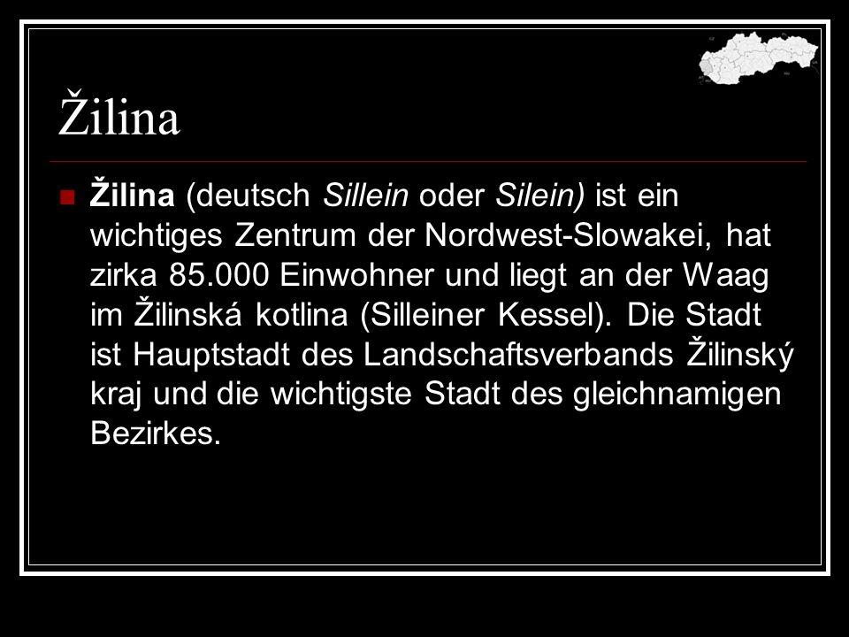 Žilina Žilina (deutsch Sillein oder Silein) ist ein wichtiges Zentrum der Nordwest-Slowakei, hat zirka 85.000 Einwohner und liegt an der Waag im Žilin