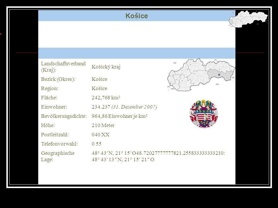 Košice Karte Landschaftsverband (Kraj): Košický kraj Bezirk (Okres):Košice Region:Košice Fläche:242,768 km² Einwohner:234.237 (31. Dezember 2007) Bevö
