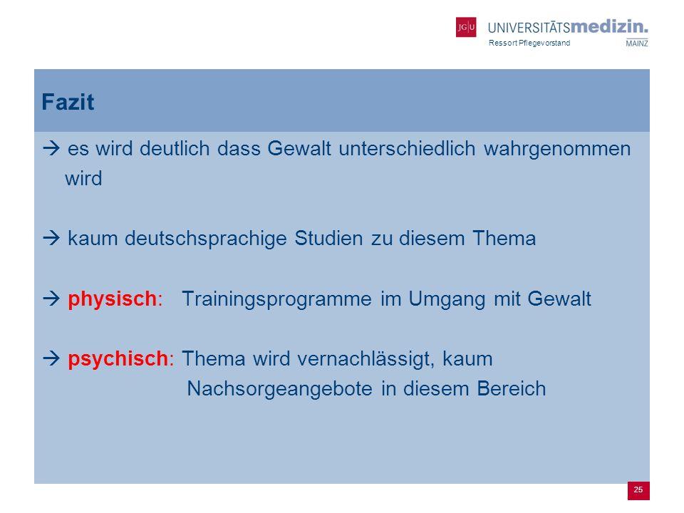 Ressort Pflegevorstand Fazit es wird deutlich dass Gewalt unterschiedlich wahrgenommen wird kaum deutschsprachige Studien zu diesem Thema physisch: Tr