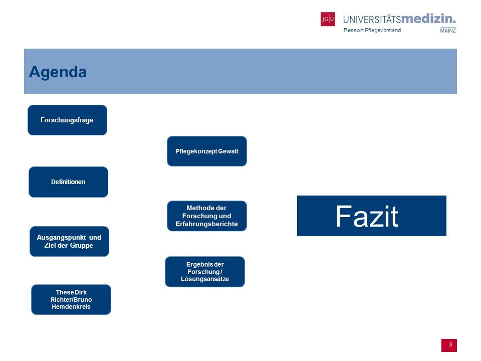 Ressort Pflegevorstand 3 Agenda Forschungsfrage Definitionen Ausgangspunkt und Ziel der Gruppe Fazit