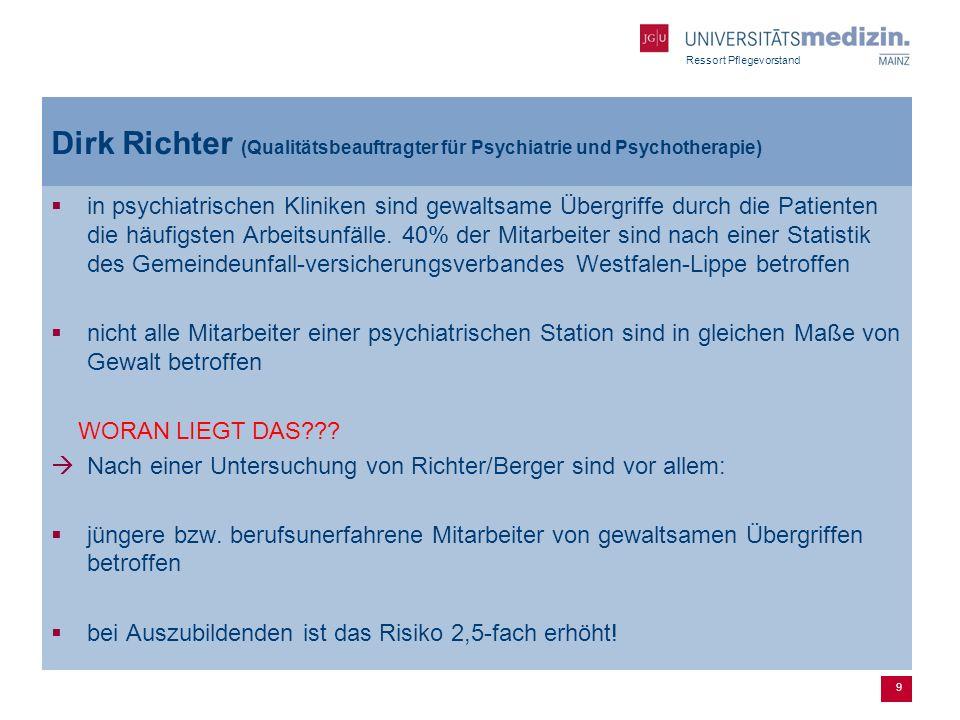 Ressort Pflegevorstand Dirk Richter (Qualitätsbeauftragter für Psychiatrie und Psychotherapie) in psychiatrischen Kliniken sind gewaltsame Übergriffe
