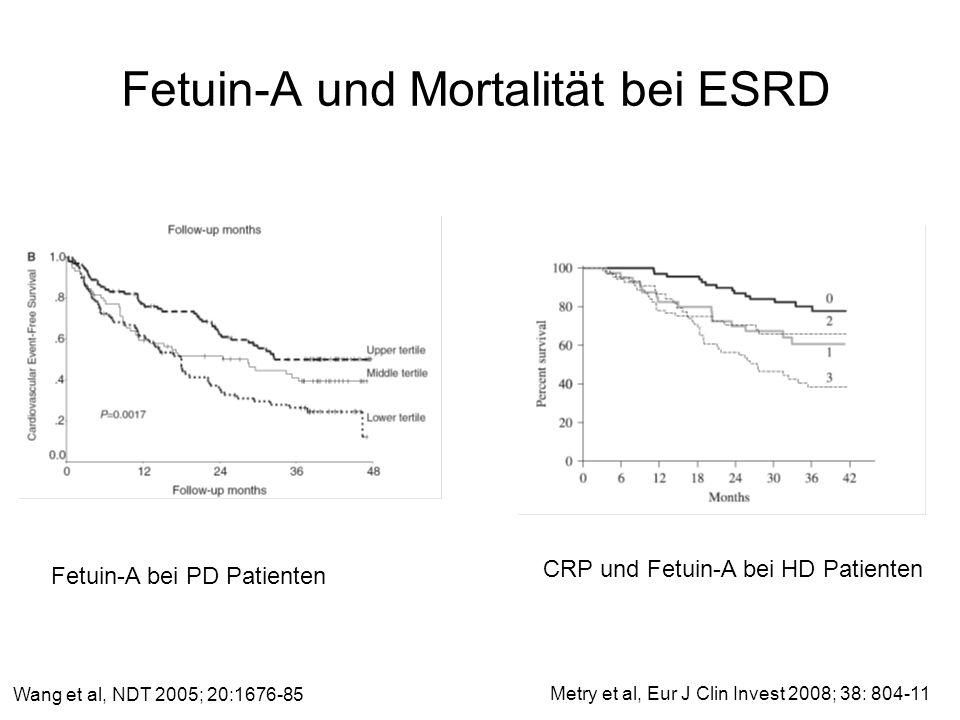 Fetuin-A und Mortalität bei ESRD Wang et al, NDT 2005; 20:1676-85 CRP und Fetuin-A bei HD Patienten Fetuin-A bei PD Patienten Metry et al, Eur J Clin