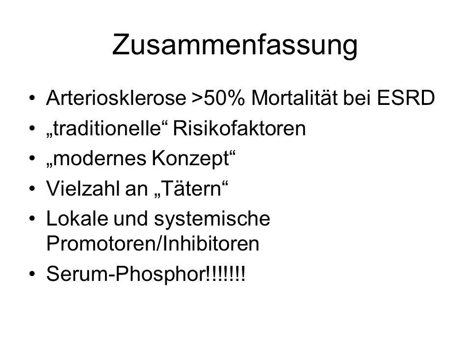 Zusammenfassung Arteriosklerose >50% Mortalität bei ESRD traditionelle Risikofaktoren modernes Konzept Vielzahl an Tätern Lokale und systemische Promo