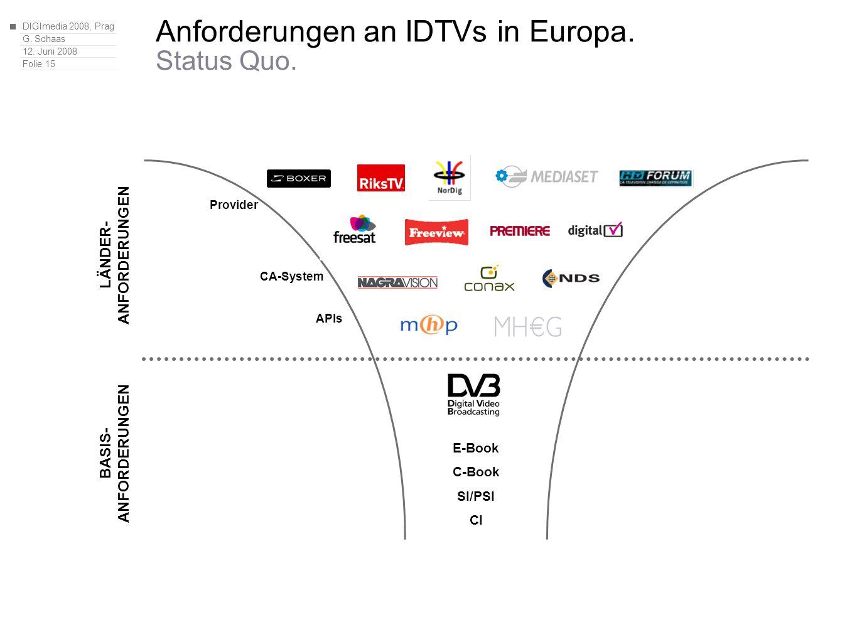 DIGImedia 2008, Prag G. Schaas 12. Juni 2008 Folie 15 Anforderungen an IDTVs in Europa.