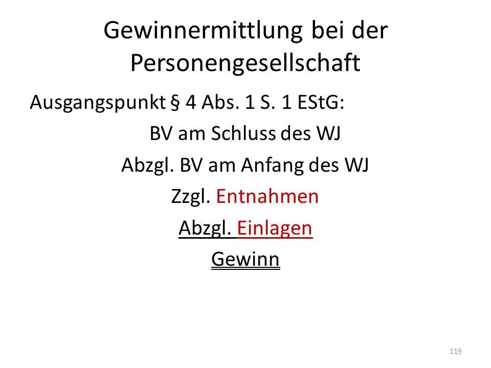 Gewinnermittlung bei der Personengesellschaft Ausgangspunkt § 4 Abs. 1 S. 1 EStG: BV am Schluss des WJ Abzgl. BV am Anfang des WJ Zzgl. Entnahmen Abzg