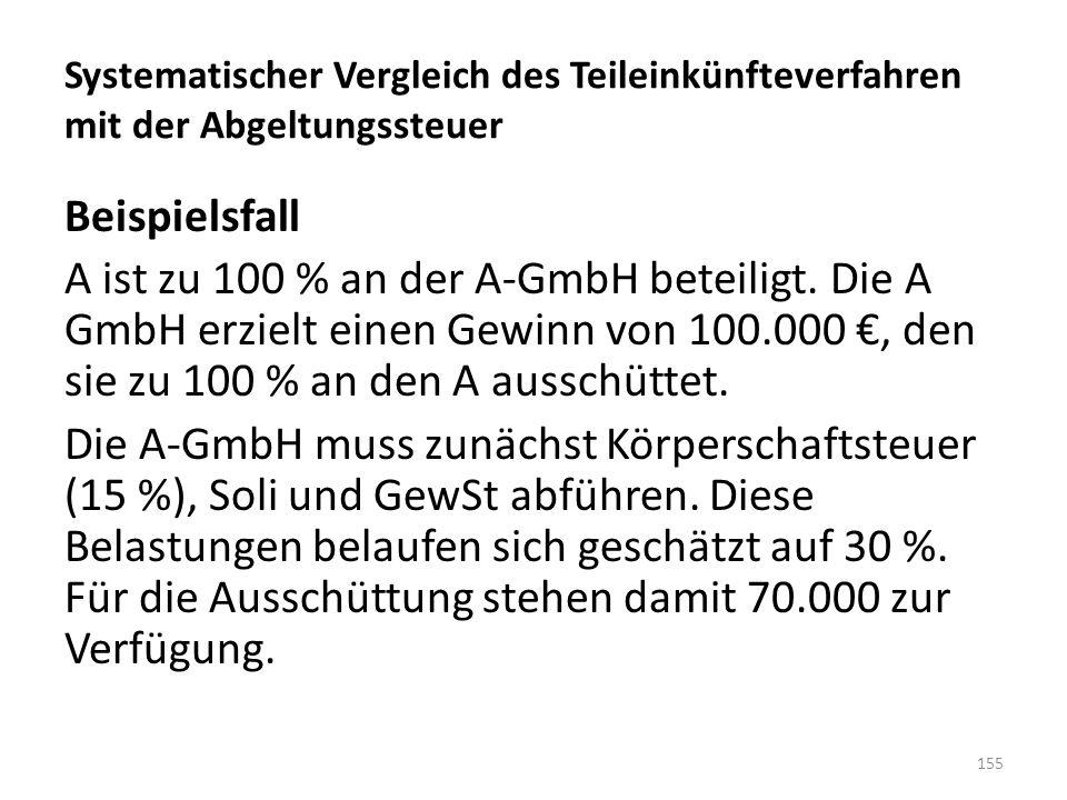 Systematischer Vergleich des Teileinkünfteverfahren mit der Abgeltungssteuer Beispielsfall A ist zu 100 % an der A-GmbH beteiligt. Die A GmbH erzielt
