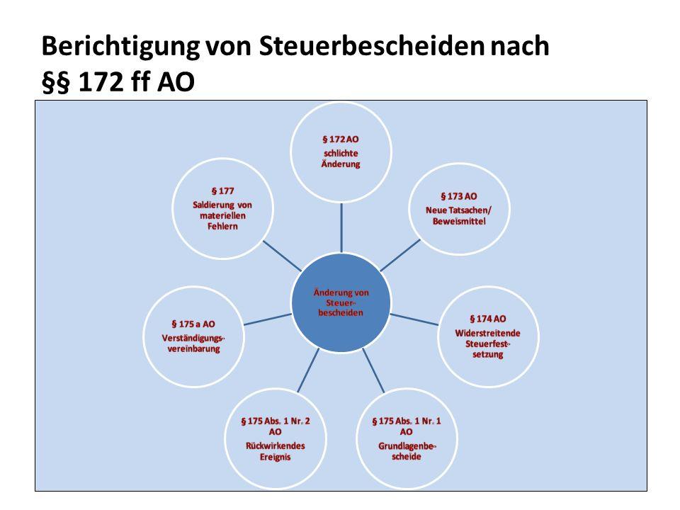 Berichtigung von Steuerbescheiden nach §§ 172 ff AO 20