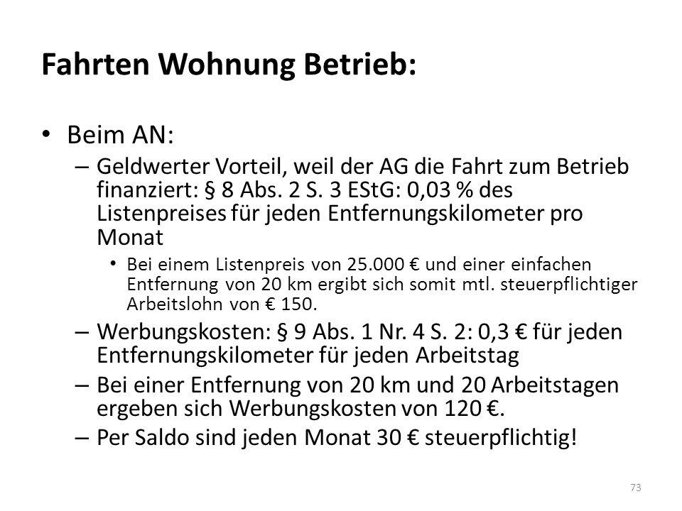 Fahrten Wohnung Betrieb: Beim AN: – Geldwerter Vorteil, weil der AG die Fahrt zum Betrieb finanziert: § 8 Abs. 2 S. 3 EStG: 0,03 % des Listenpreises f
