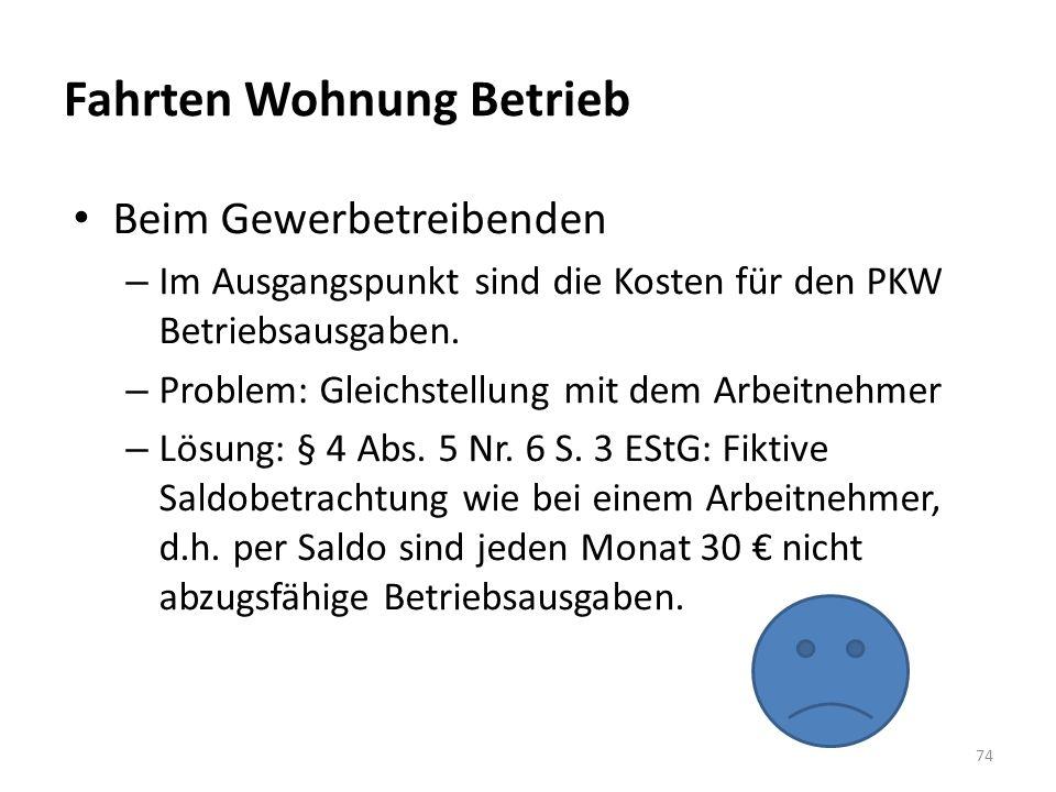 Fahrten Wohnung Betrieb Beim Gewerbetreibenden – Im Ausgangspunkt sind die Kosten für den PKW Betriebsausgaben. – Problem: Gleichstellung mit dem Arbe