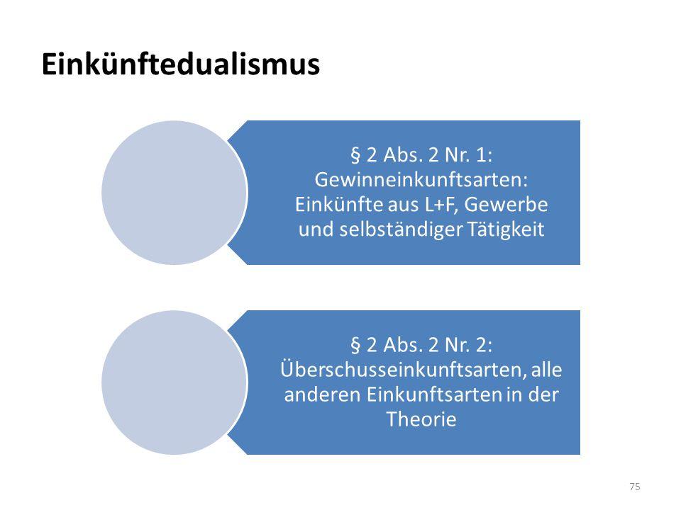 Einkünftedualismus § 2 Abs. 2 Nr. 1: Gewinneinkunftsarten: Einkünfte aus L+F, Gewerbe und selbständiger Tätigkeit § 2 Abs. 2 Nr. 2: Überschusseinkunft