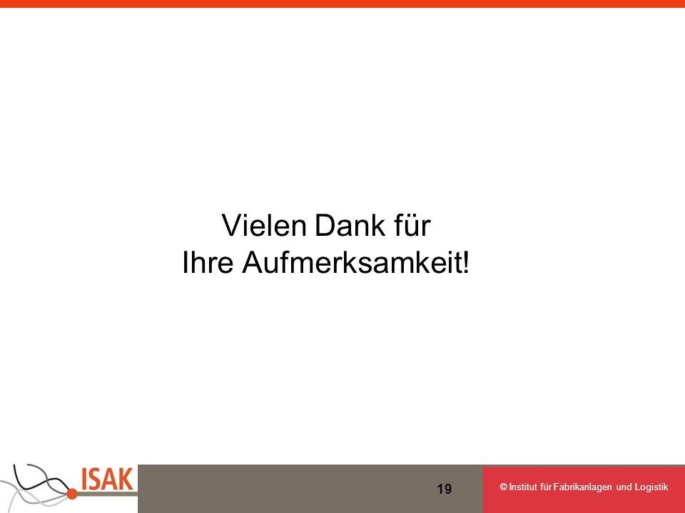 © Institut für Fabrikanlagen und Logistik 19 Vielen Dank für Ihre Aufmerksamkeit!