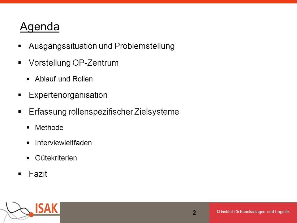 © Institut für Fabrikanlagen und Logistik 2 Agenda Ausgangssituation und Problemstellung Vorstellung OP-Zentrum Ablauf und Rollen Expertenorganisation