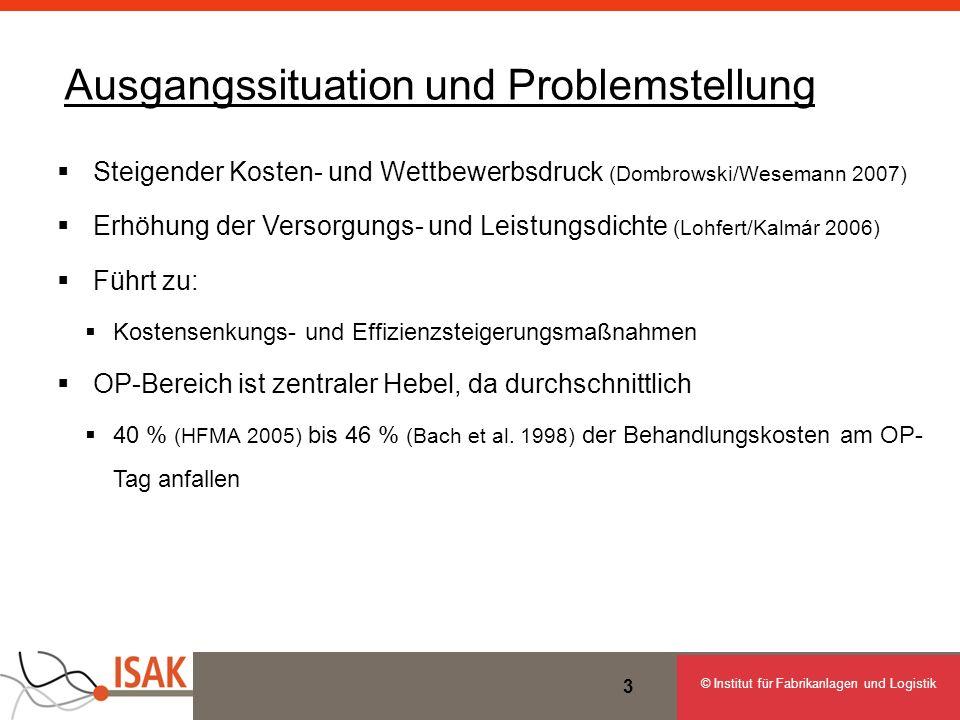 © Institut für Fabrikanlagen und Logistik 3 Ausgangssituation und Problemstellung Steigender Kosten- und Wettbewerbsdruck (Dombrowski/Wesemann 2007) E