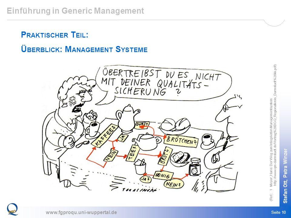 www.fgproqu.uni-wuppertal.de Stefan Ott, Petra Winzer Seite 10 Einführung in Generic Management P RAKTISCHER T EIL : Ü BERBLICK : M ANAGEMENT S YSTEME