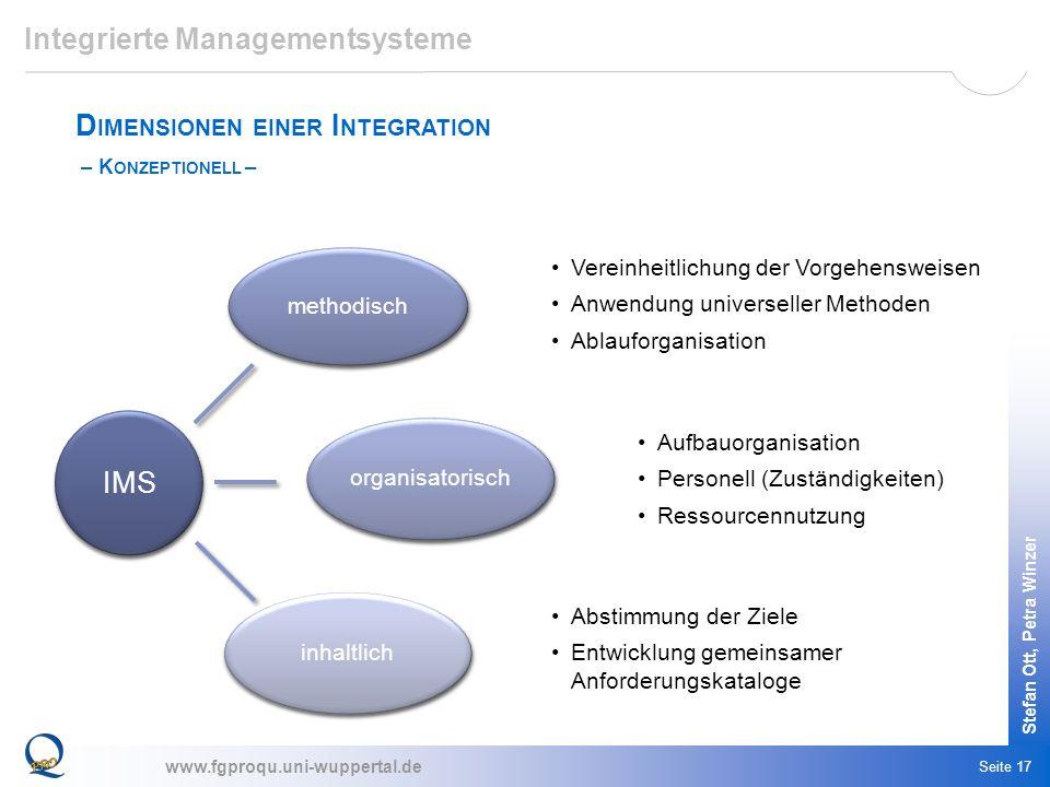 www.fgproqu.uni-wuppertal.de Stefan Ott, Petra Winzer Seite 17 Integrierte Managementsysteme D IMENSIONEN EINER I NTEGRATION – K ONZEPTIONELL – Verein