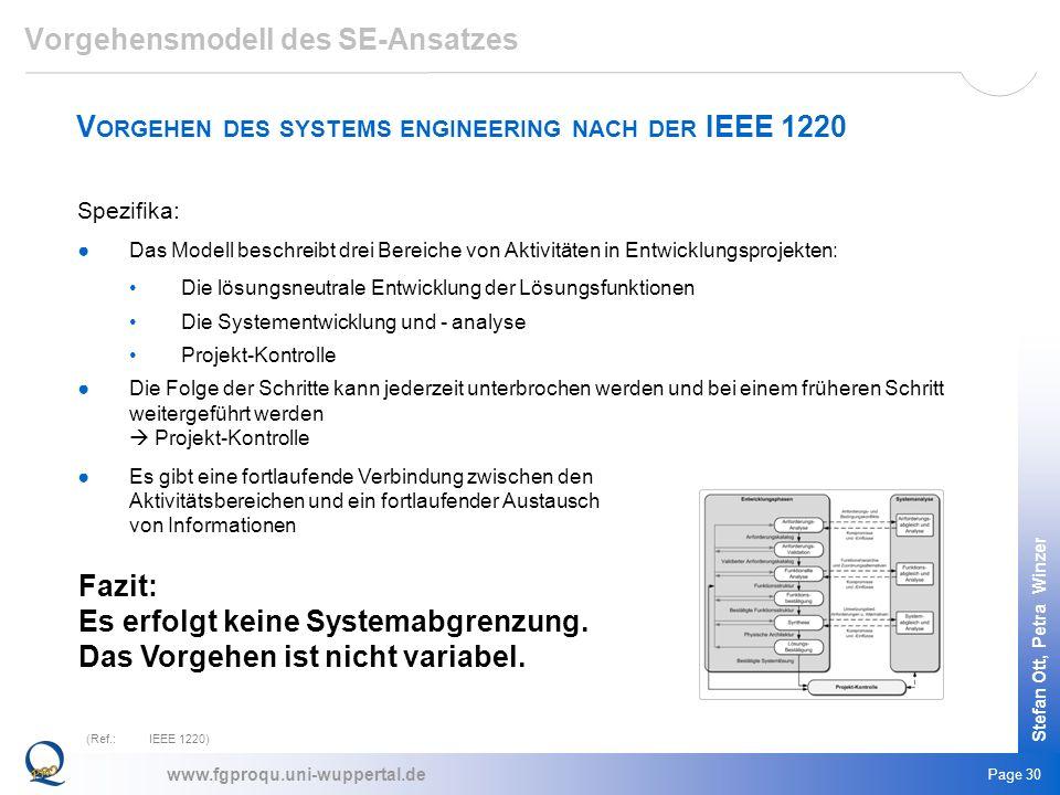 www.fgproqu.uni-wuppertal.de Stefan Ott, Petra Winzer Page 30 V ORGEHEN DES SYSTEMS ENGINEERING NACH DER IEEE 1220 (Ref.:IEEE 1220) Spezifika: Das Mod