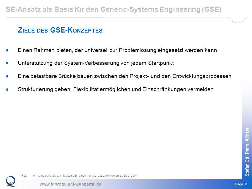 www.fgproqu.uni-wuppertal.de Stefan Ott, Petra Winzer Page 31 Einen Rahmen bieten, der universell zur Problemlösung eingesetzt werden kann Unterstützu