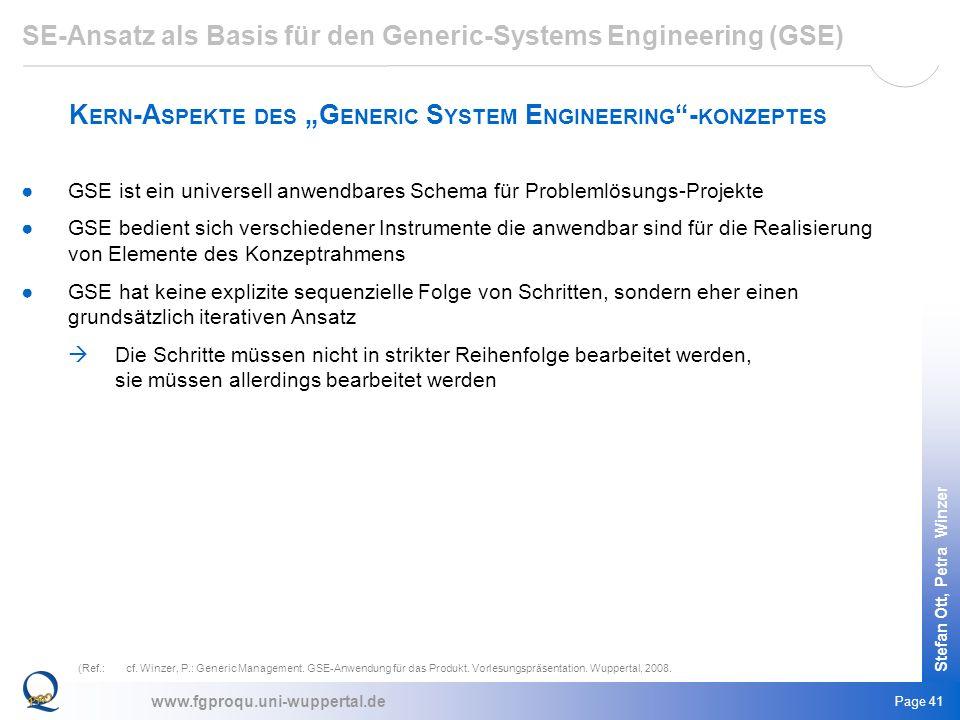 www.fgproqu.uni-wuppertal.de Stefan Ott, Petra Winzer Page 41 GSE ist ein universell anwendbares Schema für Problemlösungs-Projekte GSE bedient sich v