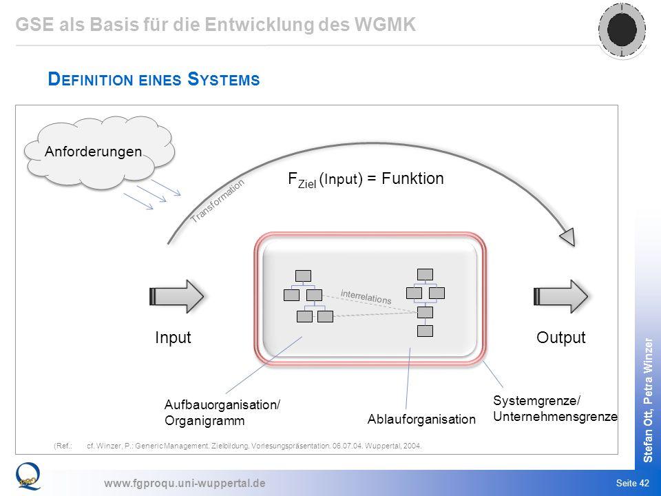 www.fgproqu.uni-wuppertal.de Stefan Ott, Petra Winzer Seite 42 D EFINITION EINES S YSTEMS (Ref.:cf. Winzer, P.: Generic Management. Zielbildung. Vorle