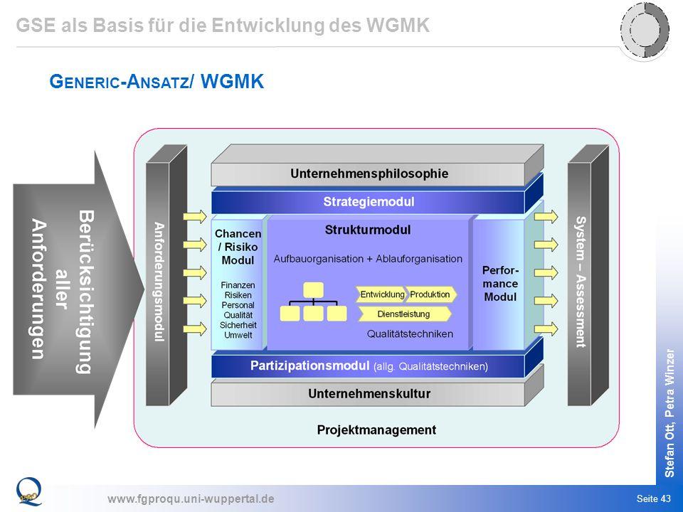 www.fgproqu.uni-wuppertal.de Stefan Ott, Petra Winzer Seite 43 G ENERIC -A NSATZ / WGMK GSE als Basis für die Entwicklung des WGMK