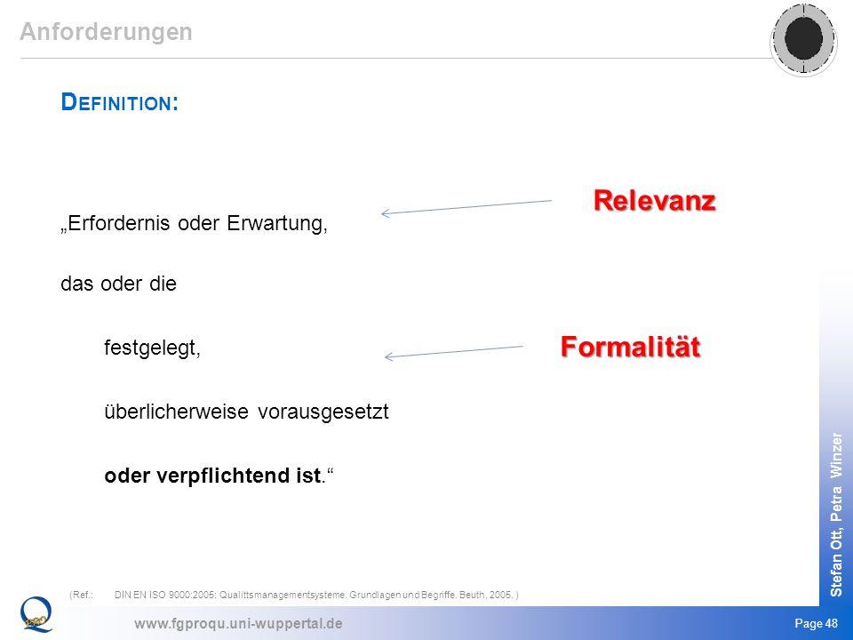 www.fgproqu.uni-wuppertal.de Stefan Ott, Petra Winzer Page 48 D EFINITION : Erfordernis oder Erwartung, das oder die festgelegt, überlicherweise vorau
