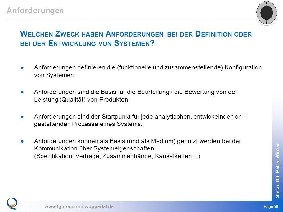 www.fgproqu.uni-wuppertal.de Stefan Ott, Petra Winzer Page 50 W ELCHEN Z WECK HABEN A NFORDERUNGEN BEI DER D EFINITION ODER BEI DER E NTWICKLUNG VON S