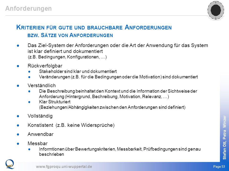 www.fgproqu.uni-wuppertal.de Stefan Ott, Petra Winzer Page 53 K RITERIEN FÜR GUTE UND BRAUCHBARE A NFORDERUNGEN BZW. S ÄTZE VON A NFORDERUNGEN Das Zie