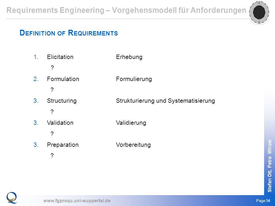 www.fgproqu.uni-wuppertal.de Stefan Ott, Petra Winzer Page 54 D EFINITION OF R EQUIREMENTS 1.ElicitationErhebung ? 2.FormulationFormulierung ? 3.Struc