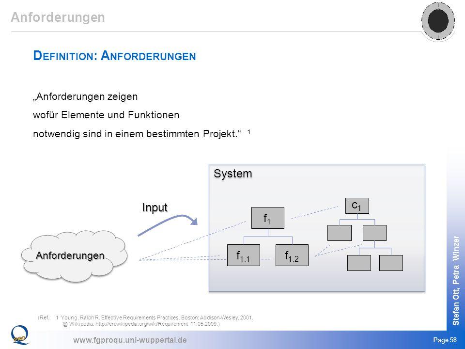 www.fgproqu.uni-wuppertal.de Stefan Ott, Petra Winzer Page 58 D EFINITION : A NFORDERUNGEN Anforderungen zeigen wofür Elemente und Funktionen notwendi