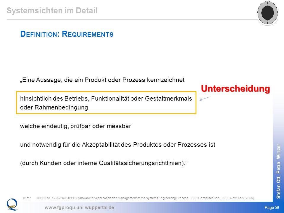www.fgproqu.uni-wuppertal.de Stefan Ott, Petra Winzer Page 59 Eine Aussage, die ein Produkt oder Prozess kennzeichnet hinsichtlich des Betriebs, Funkt