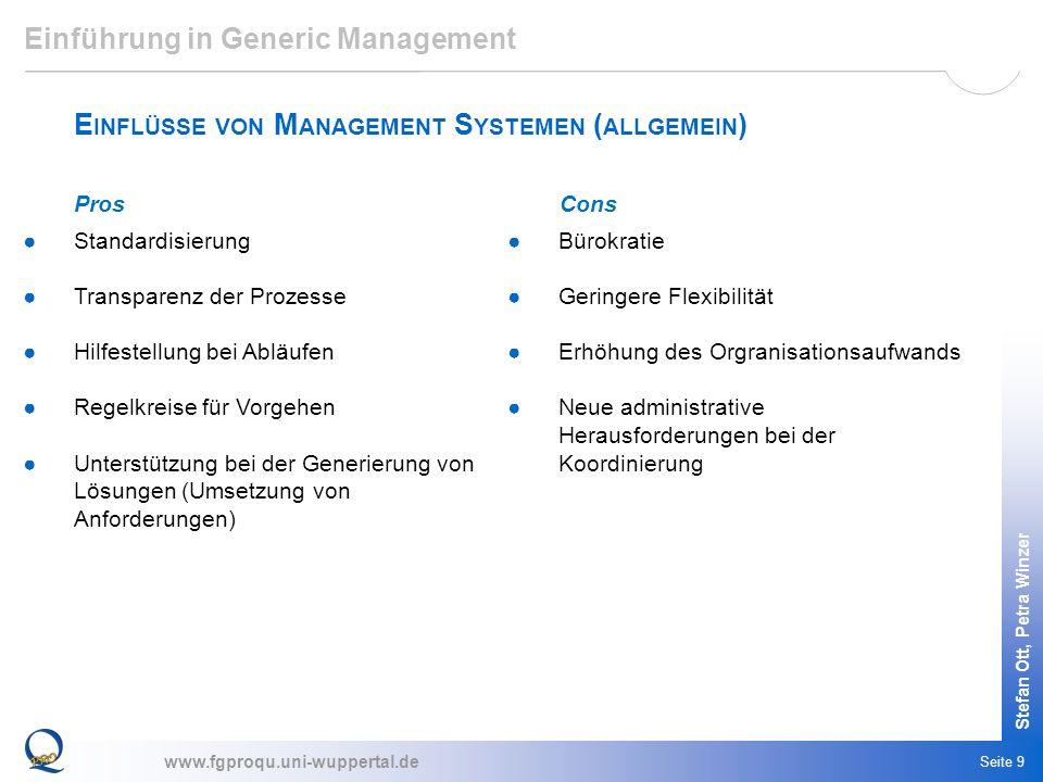 www.fgproqu.uni-wuppertal.de Stefan Ott, Petra Winzer Seite 9 Einführung in Generic Management E INFLÜSSE VON M ANAGEMENT S YSTEMEN ( ALLGEMEIN ) Stan