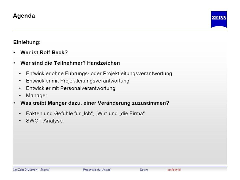 Carl Zeiss OIM GmbH – ThemaPräsentation für AnlassDatumconfidential Agenda Einleitung: Wer ist Rolf Beck? Wer sind die Teilnehmer? Handzeichen Entwick