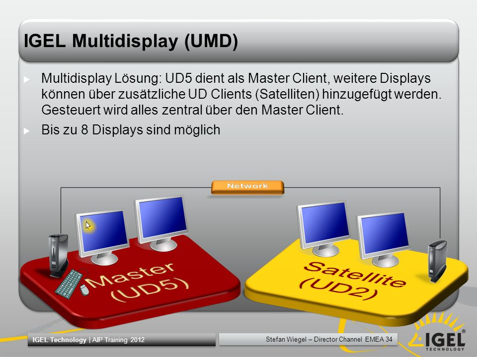 Stefan Wiegel – Director Channel EMEA 34 IGEL Technology | AIP Training 2012 IGEL Multidisplay (UMD) Multidisplay Lösung: UD5 dient als Master Client,
