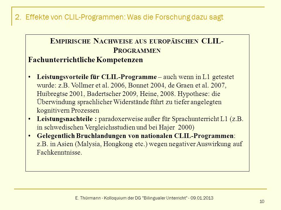 2. Effekte von CLIL-Programmen: Was die Forschung dazu sagt E. Thürmann - Kolloquium der DG