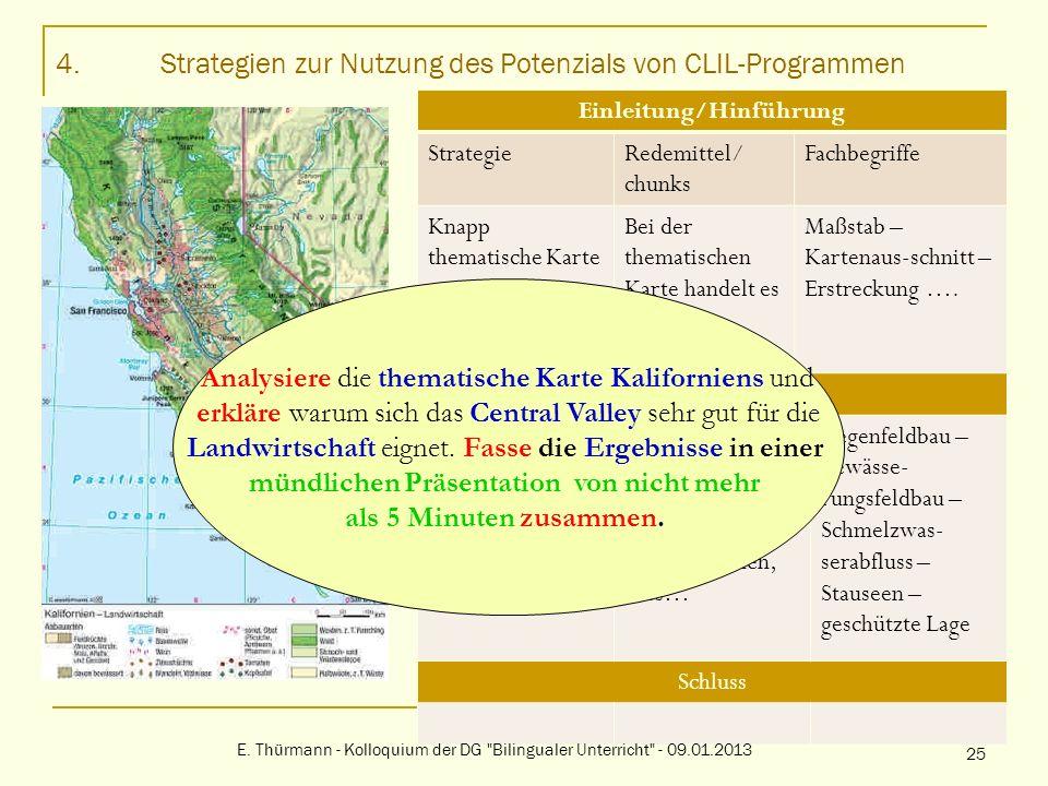 4.Strategien zur Nutzung des Potenzials von CLIL-Programmen Einleitung/Hinführung StrategieRedemittel/ chunks Fachbegriffe Knapp thematische Karte vor