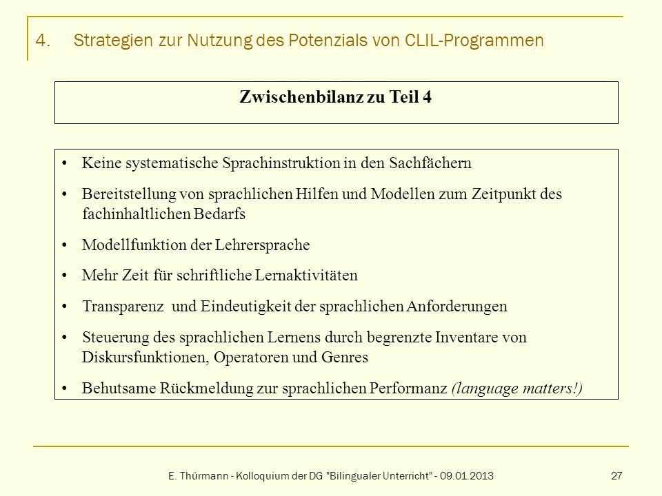 4.Strategien zur Nutzung des Potenzials von CLIL-Programmen E. Thürmann - Kolloquium der DG