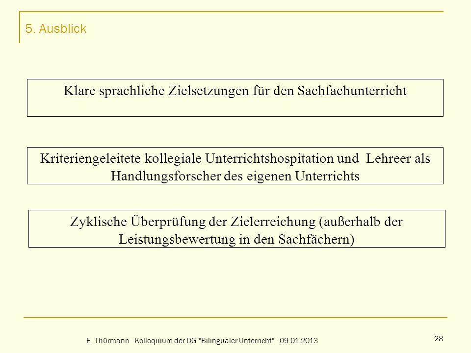 5. Ausblick E. Thürmann - Kolloquium der DG