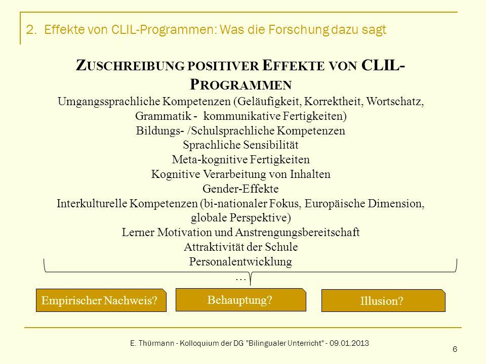 1.Effekte von CLIL-Programmen: Was die Forschung dazu sagt E.