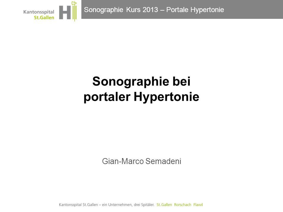 Sonographie Kurs 2013 – Portale Hypertonie Zeichen der PH bei Leberzirrhose Splenomegalie Bipolarer Durchmesser >12cm Milz-Querschnittsfläche > 45cm 2 (Hilus) Beste Sensitivität aller Parameter 22.