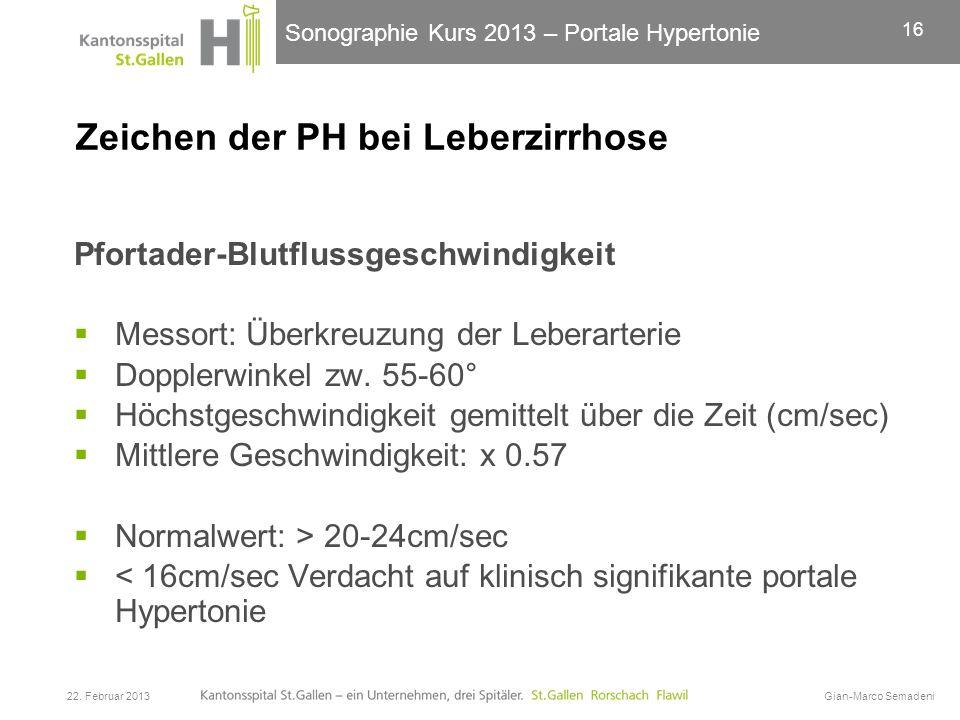 Sonographie Kurs 2013 – Portale Hypertonie Zeichen der PH bei Leberzirrhose Pfortader-Blutflussgeschwindigkeit Messort: Überkreuzung der Leberarterie