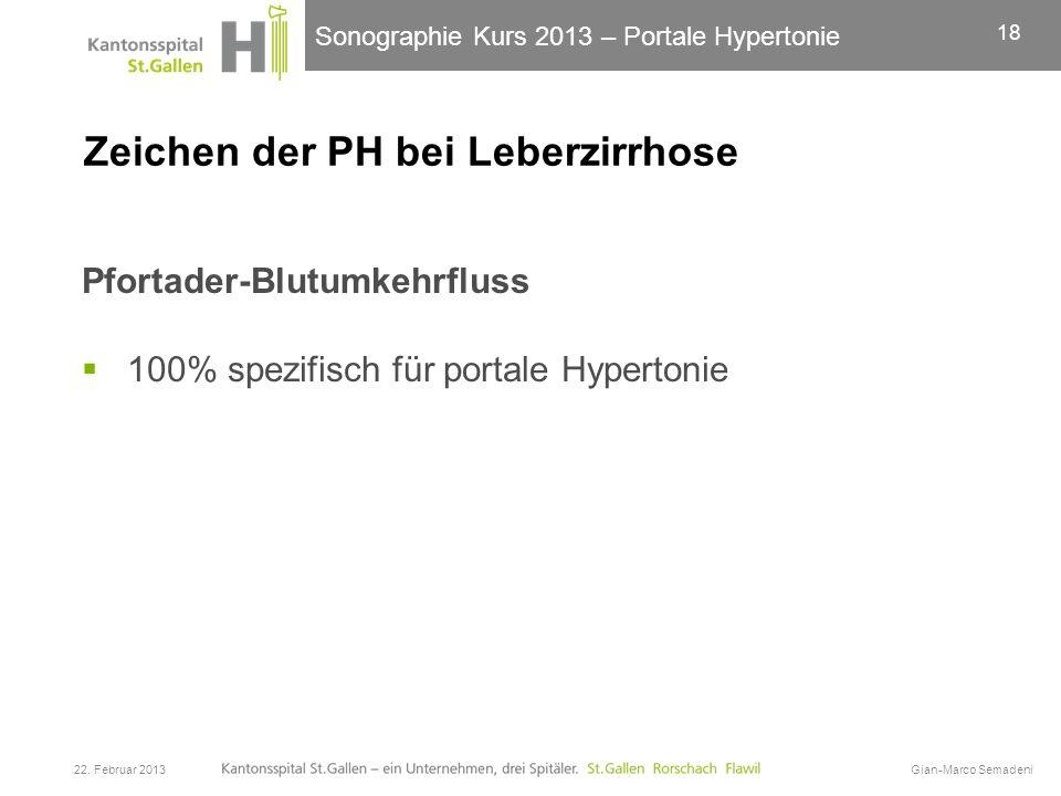 Sonographie Kurs 2013 – Portale Hypertonie Zeichen der PH bei Leberzirrhose Pfortader-Blutumkehrfluss 100% spezifisch für portale Hypertonie 22. Febru