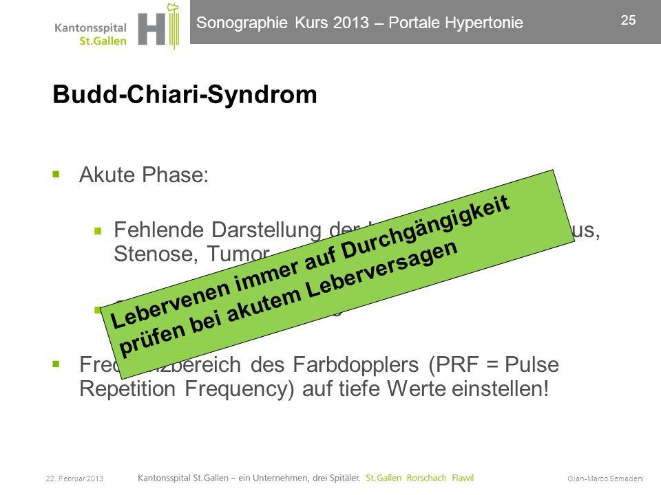 Sonographie Kurs 2013 – Portale Hypertonie Budd-Chiari-Syndrom Akute Phase: Fehlende Darstellung der Lebervenen, Thrombus, Stenose, Tumor Splenomegali