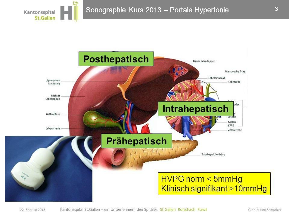 Sonographie Kurs 2013 – Portale Hypertonie 22. Februar 2013Gian-Marco Semadeni 3 Prähepatisch Intrahepatisch Posthepatisch HVPG norm < 5mmHg Klinisch