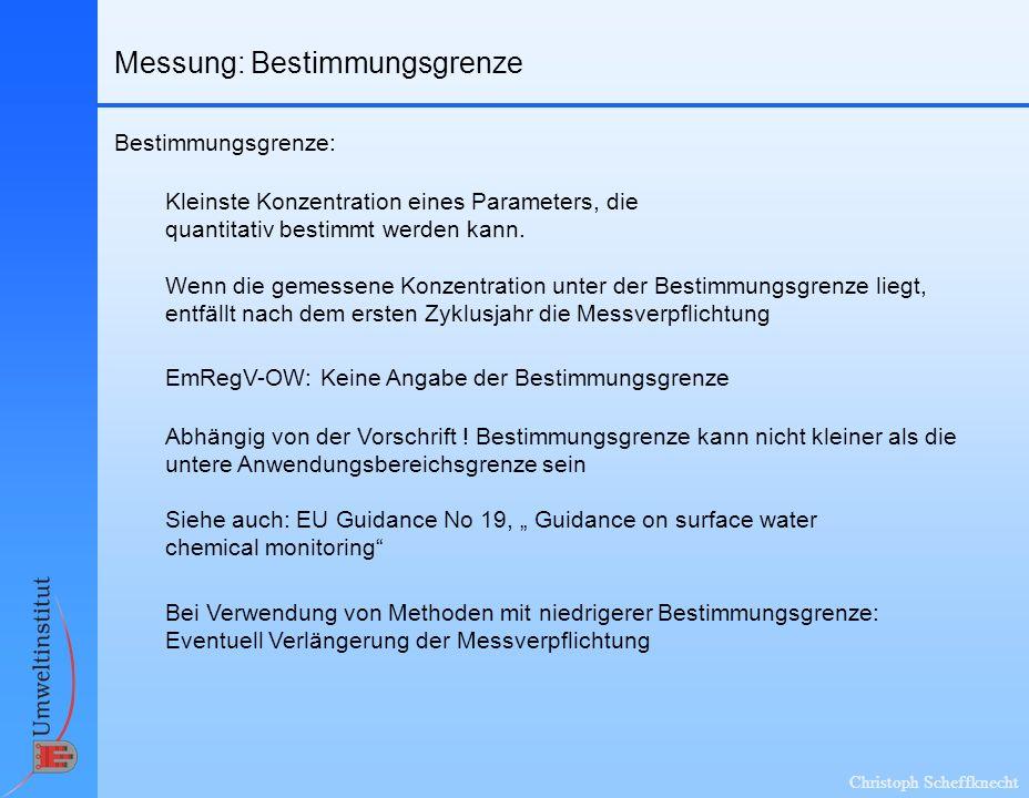Christoph Scheffknecht Messung: Bestimmungsgrenze Bestimmungsgrenze: Kleinste Konzentration eines Parameters, die quantitativ bestimmt werden kann. Ab