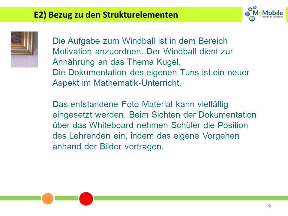 19 E2) Bezug zu den Strukturelementen Die Aufgabe zum Windball ist in dem Bereich Motivation anzuordnen. Der Windball dient zur Annährung an das Thema