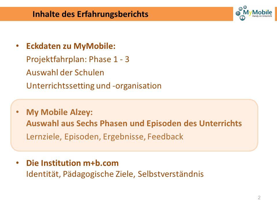 Eckdaten zu MyMobile: Projektfahrplan: Phase 1 - 3 Auswahl der Schulen Unterrichtssetting und -organisation My Mobile Alzey: Auswahl aus Sechs Phasen