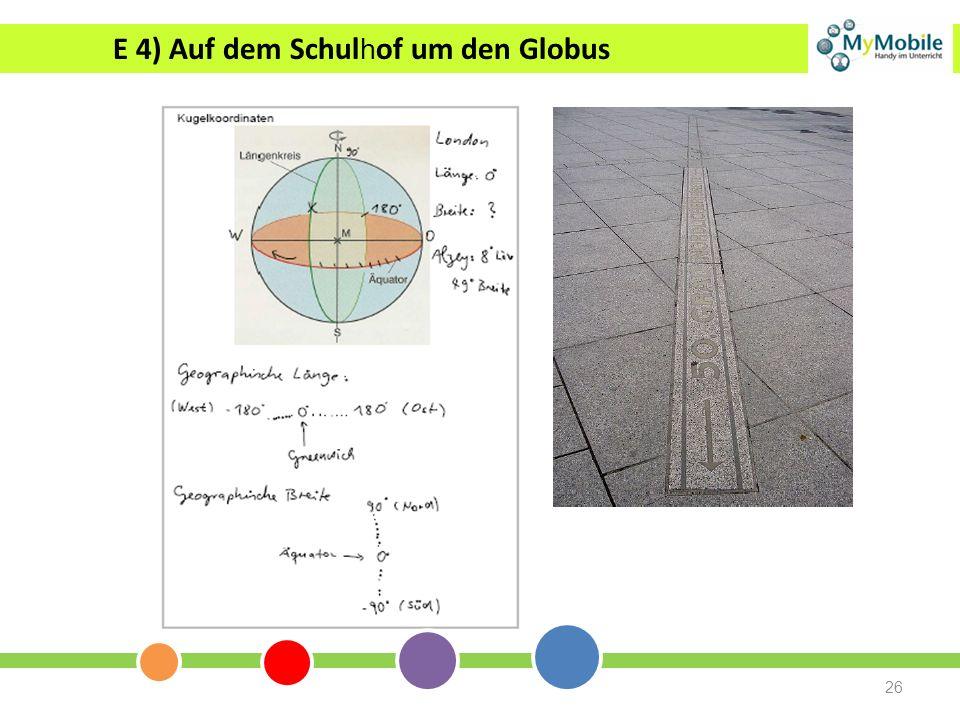 26 E 4) Auf dem Schul h of um den Globus