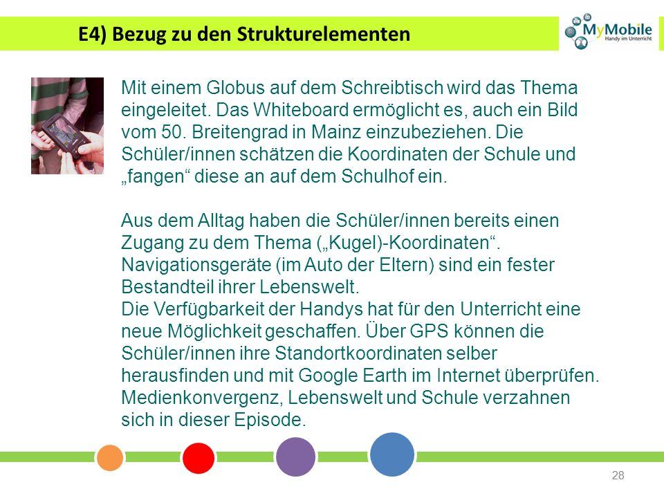 28 E4) Bezug zu den Strukturelementen Mit einem Globus auf dem Schreibtisch wird das Thema eingeleitet. Das Whiteboard ermöglicht es, auch ein Bild vo